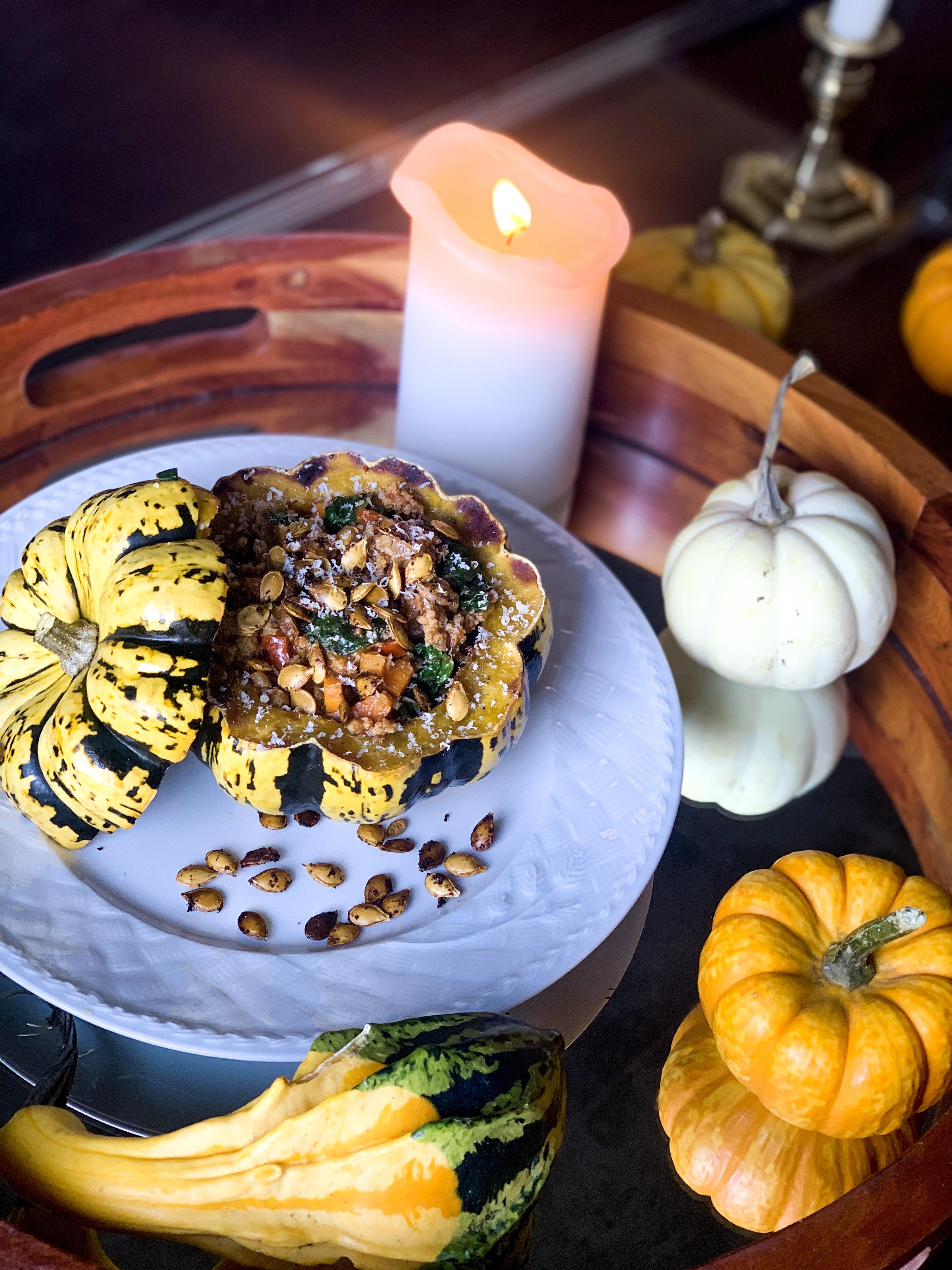 Turkey and Veggie Stuffed Acorn Squash