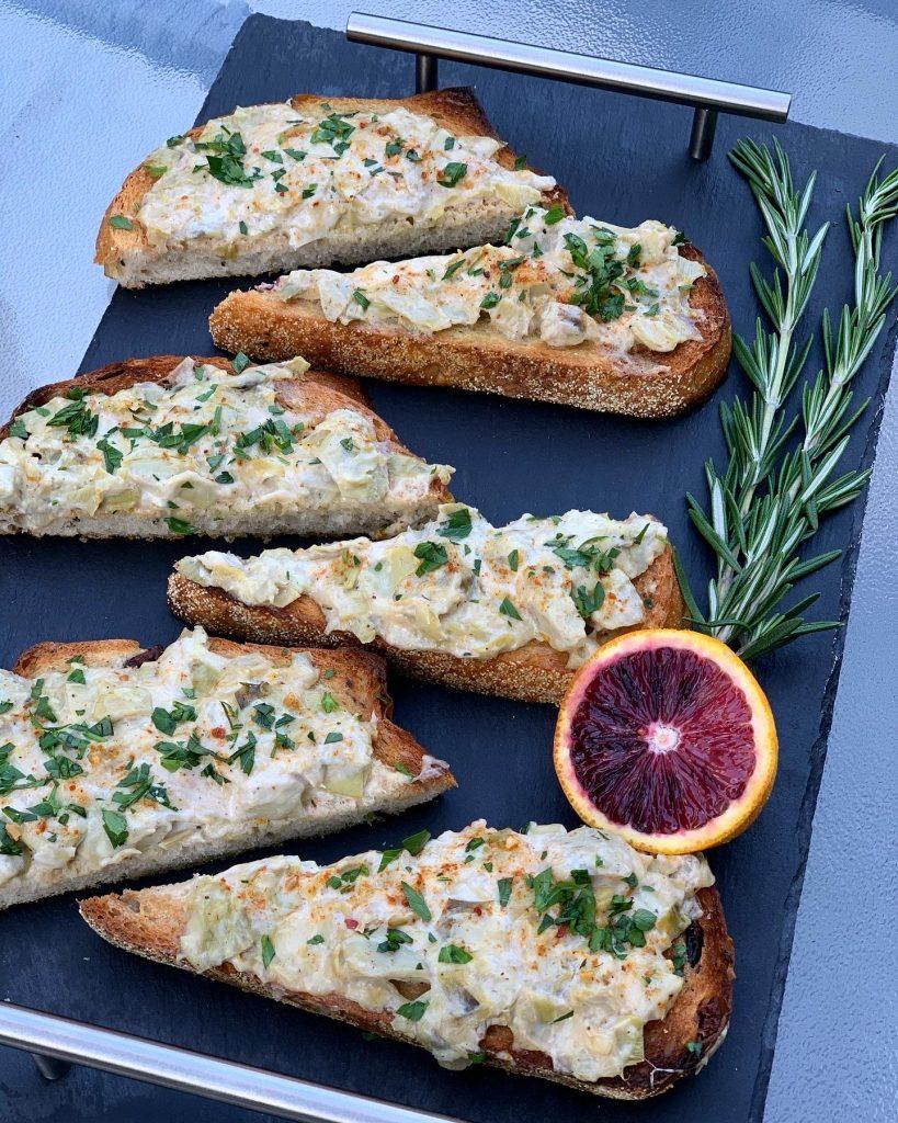 Cheese Artichoke Toasts