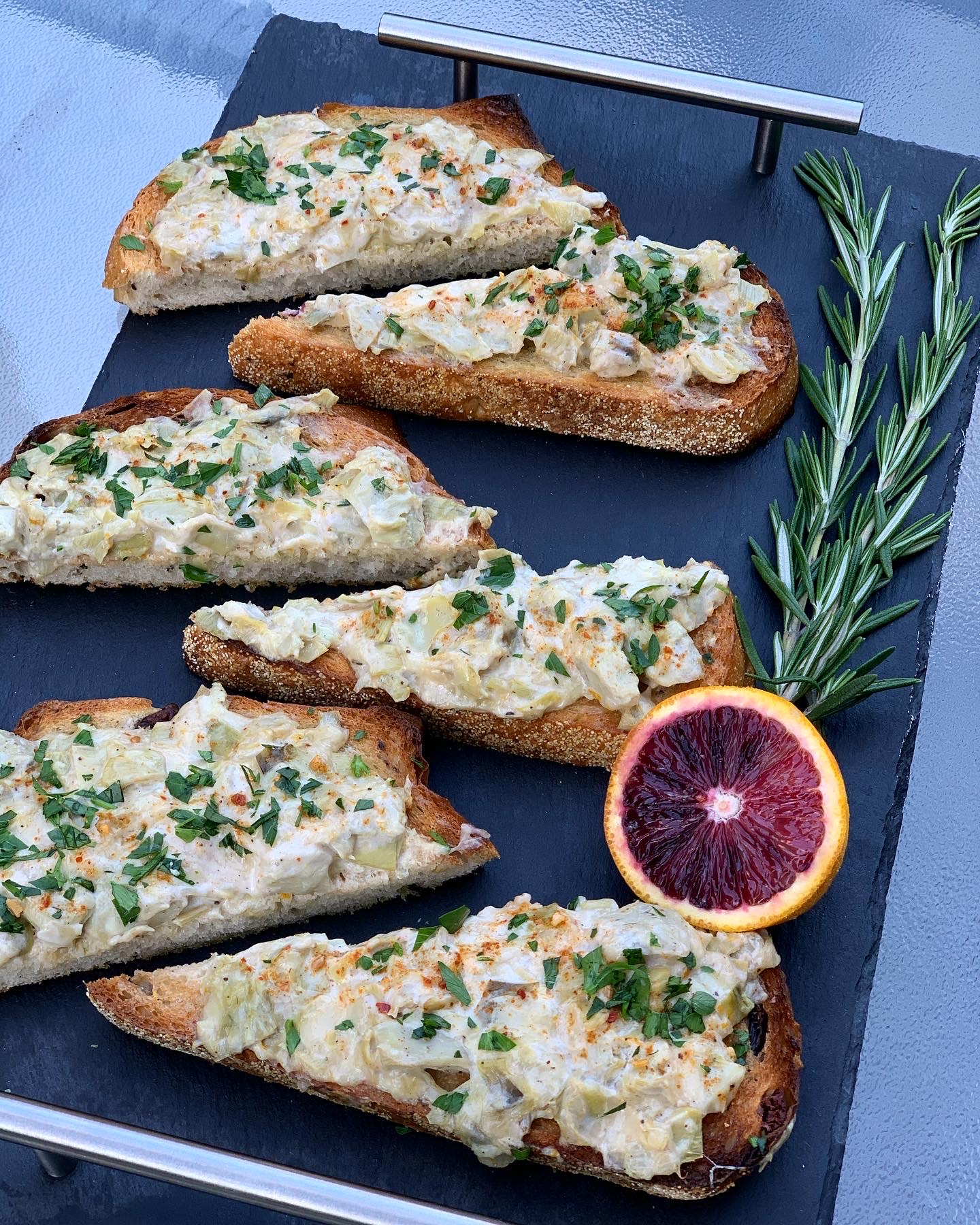 Artichoke Cheesy Toasts