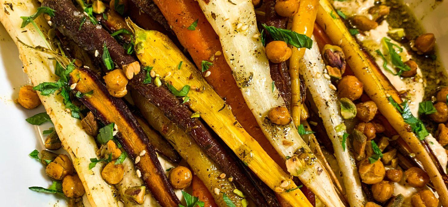 Roasted Heirloom Carrots with Garlic Hummus