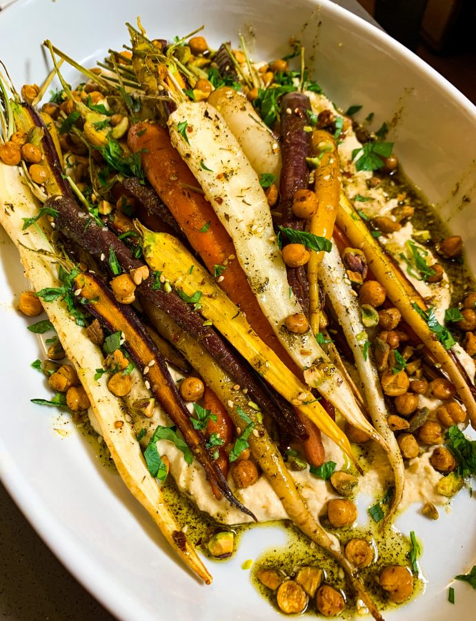 Roasted Heirloom Carrots with Garlic Hummus