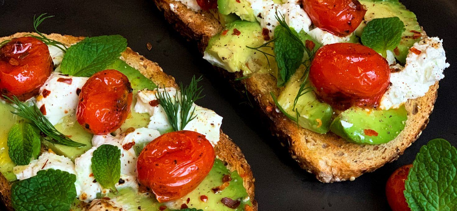 Avocado Toast with Blistered Tomatoes, Goat Cheese & Fresh Herbs