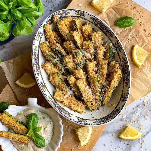 Zucchin fries baked with basil lemon garlic ailoi