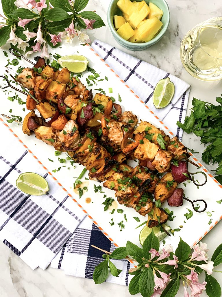 Grilled pineapple and chicken kabobs